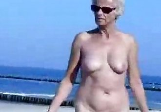 Must see this cute granny totally naked at beach - 38 sec
