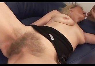 Super Hairy Blonde MILF gets Creampied