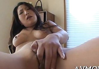 Two large cocks and a sexy asian - 5 min