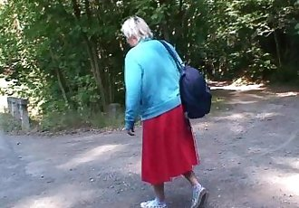 He picks up and bangs 80 years old granny outside - 6 min HD