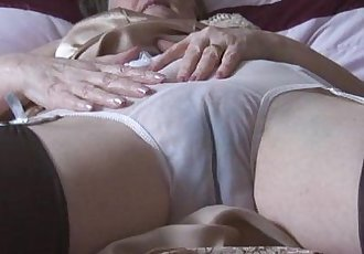Hairy granny in slip and stockings with see thru panties strips - 7 min