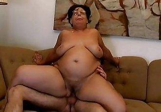Horny fat grandma gets her pussy fucked - 5 min