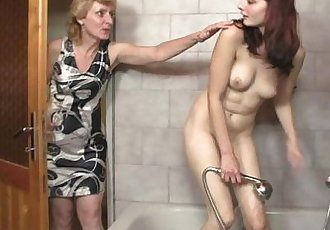His mom licks her cunt then daddy bangs her - 6 min