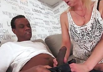 Lusty Grandma Ilona takes black cock - 5 min HD