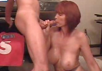 Busty cheating wife sucks cock and swallow cum - 50 sec