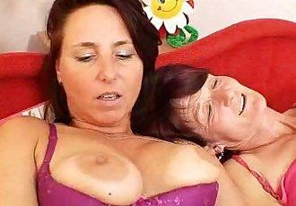 Woolly grandma toyed by big-breasted mamma lesbian - 6 min