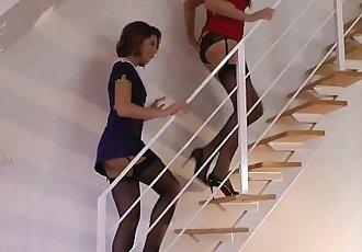 Glamcore euro milf and babe sharing cum - 8 min HD