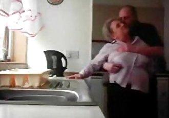 LOL. Mum and daddy caught having fun in the kitchen. Hidden cam - 3 min