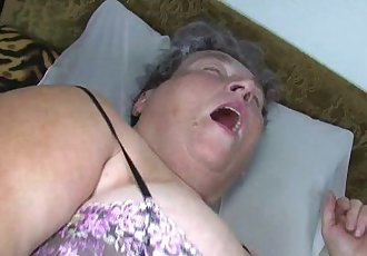 Old chubby mom teaches her chubby younger woman masturbating use dildo - 8 min HD