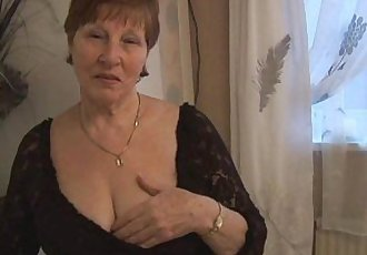 Hairy granny in crotchless panties posing - 7 min