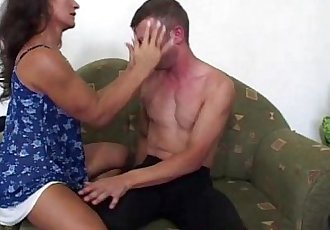 Veteran Brunette In Threesome With Two Teen Boys
