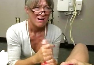 Mature granny jerking guys dick - 6 min