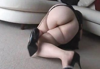 Attractive mature lady with big tits in stockings teases and strips - 7 min