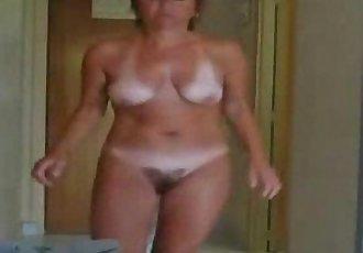 Enjoy my cute hairy mom fully nude. Hidden cam - 1 min 39 sec