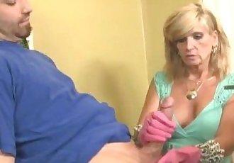 Mature Lady Gloved Handjob - 4 min