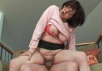 Busty grandma enjoys hardcore sex