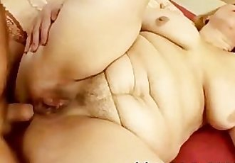 OLD, FAT GRANDMA FUCKS WITH YOUNG STUD !!