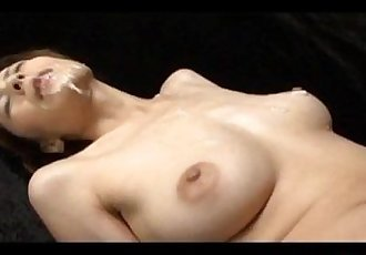 Natsumi Mitsu Japanese milf in red dress spreads hairy pussy for masturbation with a small vibrator - 10 min
