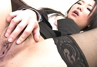 Japanese girl in nylon stockings masturbates - 7 min HD