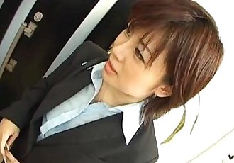 Yukino undresses office suit while sucking - 10 min