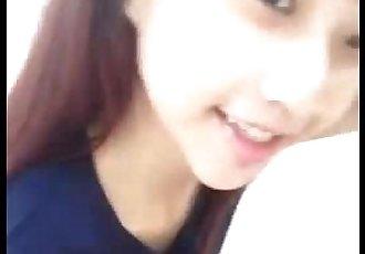 可爱的 泰国 女孩 selfshot 粉红色 毛茸茸的 猫 - 38 sec
