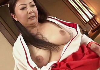 Mature Asian tramp in her kimono tries out two cocks - 8 min HD