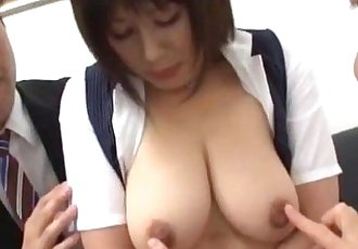 Busty Office Lady Getting Her Tits Massaged With Lotion Rubbed With Cocks By 2 G - 8 min