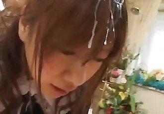 美丽的 青少年 女仆 灰头土脸 通过 很多 的 厚 男子 果汁 - 7 min