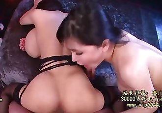 pov threesome with very busty eurasian, & japanese with humongous naturals
