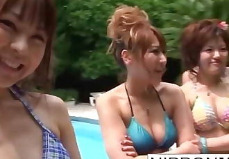 Summer blowjob competition with some Asian cuties