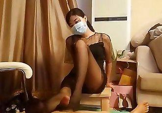 中國 性感的 連褲襪 腳交