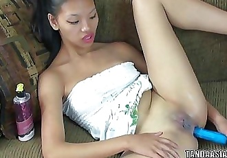 Asian hottie Olivia is fucking her tight ass with a dildo 6 min HD