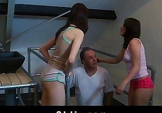 Old dude fucked by two crazy young girlsHD