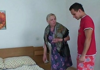 Moaning granny rides young meat - 6 min