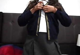 cute schoolgirl in uniform screams in pleasure and gets a creampie
