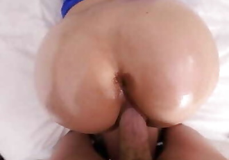 Teen with Massive Ass is Woken for Oiled POV Sex