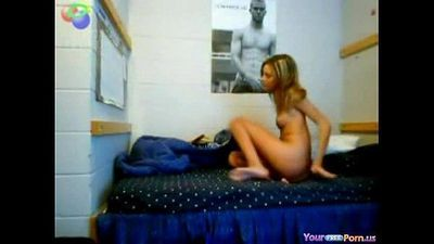 hot blonde on bed rubs off - 2 min
