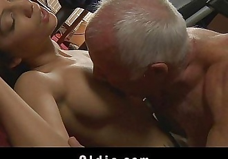 Young maid tastes hers old boss cockHD