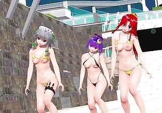 3D MMD Undead Enemy - Patchouli, Sakuya & Meiling