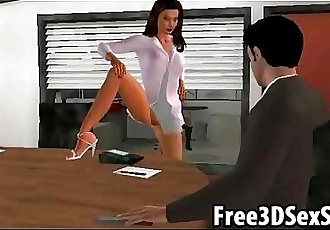 Sexy 3D cartoon secretary gets fucked by her boss - 6 min