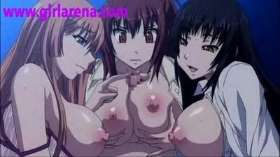 Young Hentai Girls Play with cum and dick - 4 min