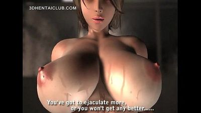 Sexy anime girl in big tits blows a giant cock - 5 min