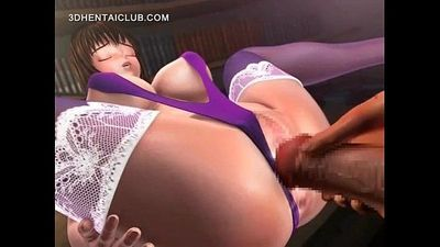 Anime sex doll takes a giant cock in tight cunt - 5 min