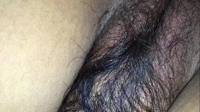 Hairy wife in black bra & tight asshole enjoying doggy style with husband friend - 3 min