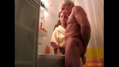 Granddaughter help her grand father cum shoot - 13 min