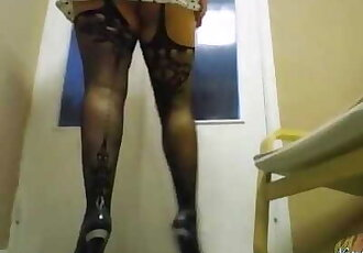 Brunette Shows Sexy Feet in Mesh Stockings - Foot Fetish