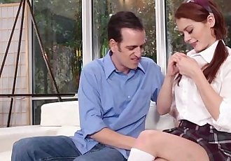 Smoking hot redhead schoolgirl Alice Green assfucked