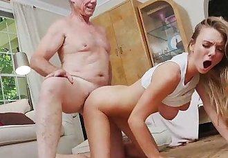 Sexy blonde slut Molly Mae fucks 3 aged cocks