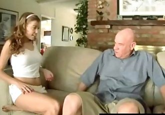 Teen seducing senior by flashing