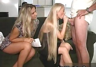 Gorgeous blonde MILFs Elle and Katilyn invite a r